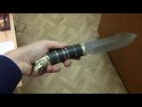 Нож Тайга (кожаная рукоять с вставками + Литьё + узор на клинке)